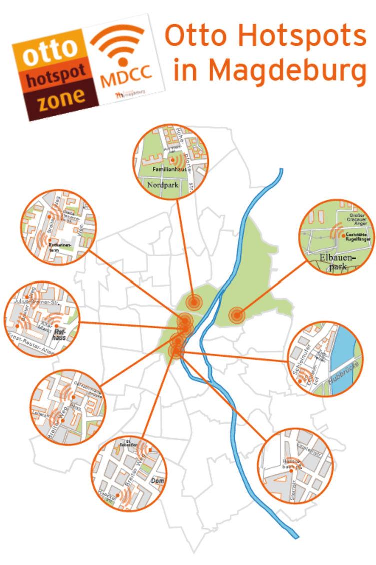 Übersicht der Otto Hotspots in Magdeburg