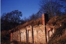 Au�enfortanlage im Stadtpark im Winter ohne Schnee aber strahlend blauen Himmels, auf den besch�digten Festungsmauern wachsen h�here B�ume