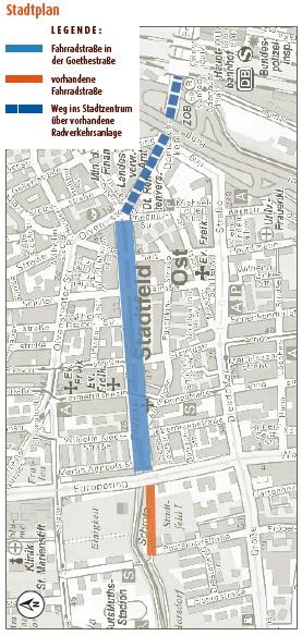 Fahrradstraße - Goethestraße - Lageplan