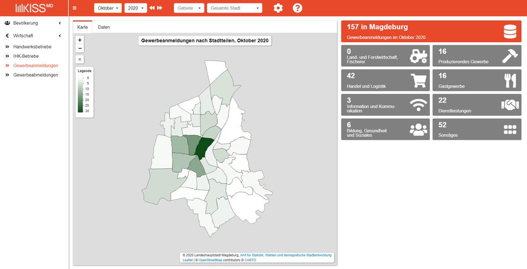 Externer Link: Kommunale Informations- und Statistik System Magdeburg (KISS-MD)