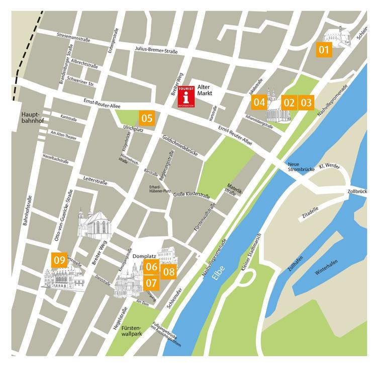 Lutherstationen in Magdeburg_Kartenausschnitt ©4visions