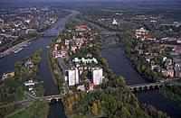 Luftbild Werder mit Elbe
